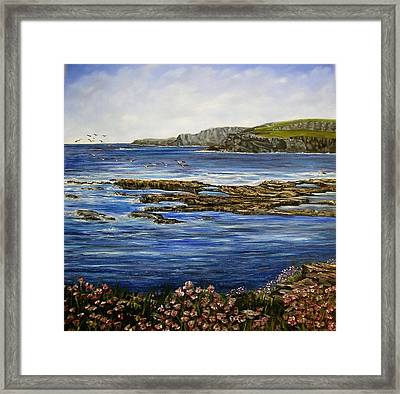 Kilkee Cliffs Ireland Oil Painting Framed Print by Avril Brand