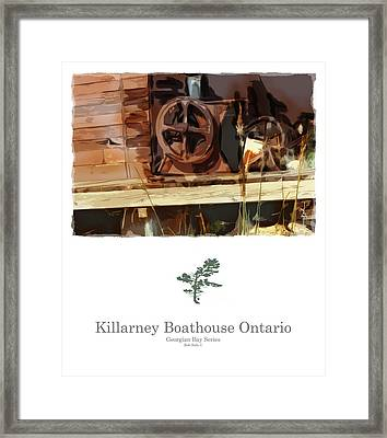 Killarney  Ontario Boathouse Poster Series Framed Print by Bob Salo