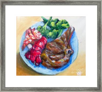 Framed Print featuring the painting Killer Meal by Saundra Johnson