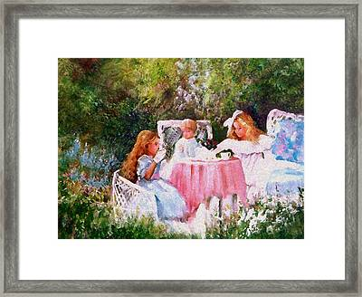Kimber's Tea Party Framed Print by Sally Seago