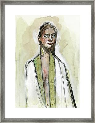 Kimono In Sage Framed Print by Rob Tokarz
