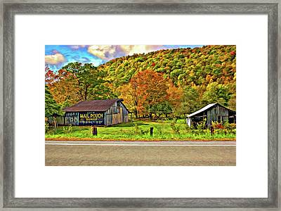 Kindred Barns Painted Framed Print by Steve Harrington