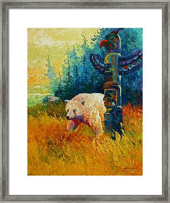 Kindred Spirits - Kermode Spirit Bear Framed Print by Marion Rose