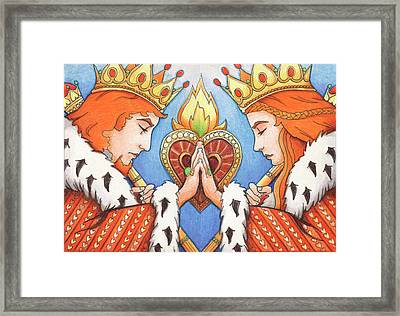King And Queen Of Hearts Framed Print by Amy S Turner