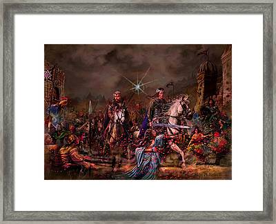 Framed Print featuring the painting King Arthur Returns by Steve Roberts
