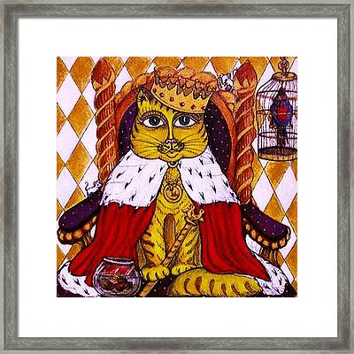 Framed Print featuring the painting King Cat  by Rae Chichilnitsky