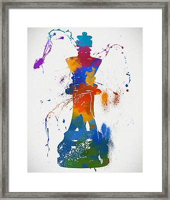 King Chess Piece Paint Splatter Framed Print by Dan Sproul