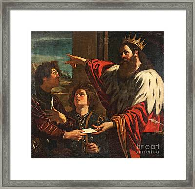 King David Giving Uriah A Letter Framed Print by MotionAge Designs