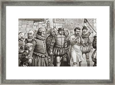 King Henri IIi Of France Doing Penance By Walking Through The Streets Of Paris In A Hair Shirt Framed Print by Pat Nicolle