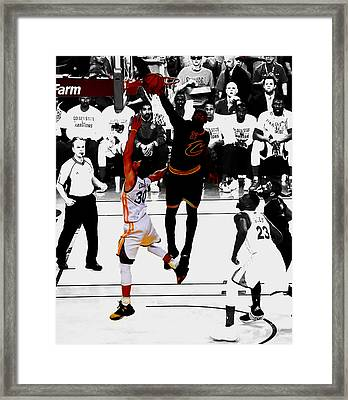 King James Blocks Steph Curry Framed Print