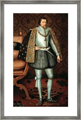 King James I Framed Print by Paul van Somer