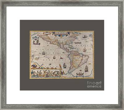 King James Map Of America Framed Print by Frederick Holiday