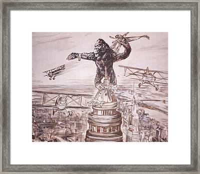 King Kong - Atop The Empire State Building Framed Print