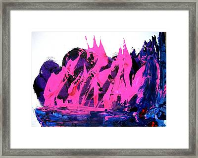 King Kong Attacks Phantom Pink Sail Boat Framed Print by Bruce Combs - REACH BEYOND