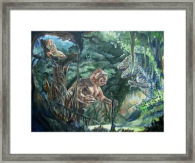 Framed Print featuring the painting King Kong Vs T-rex by Bryan Bustard