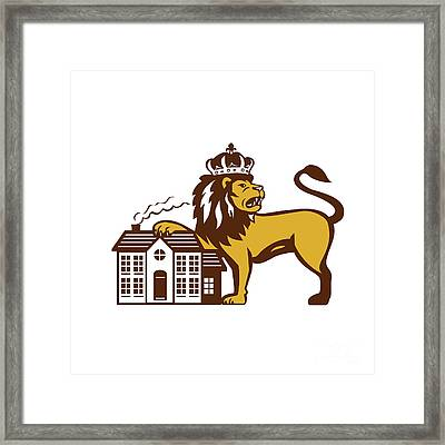 King Lion Paw On House Isolated Retro Framed Print by Aloysius Patrimonio