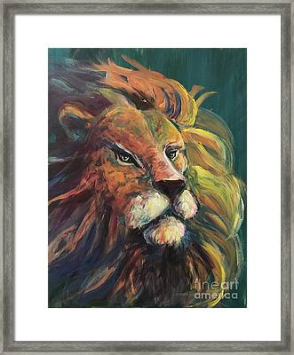 Framed Print featuring the painting Aslan by Lisa DuBois