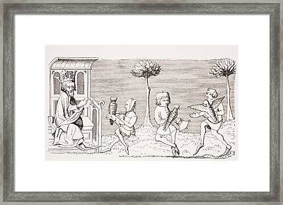 King Modus Teaching The Art Of Framed Print by Vintage Design Pics