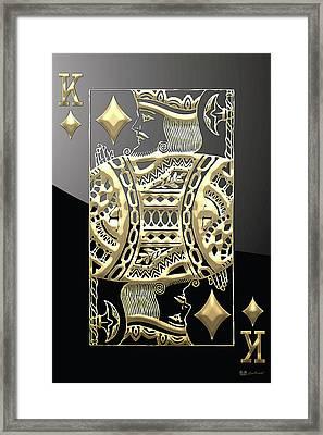 King Of Diamonds In Gold On Black  Framed Print