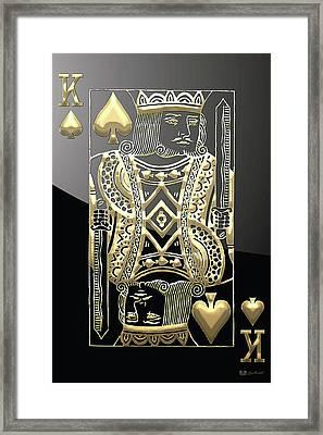 King Of Spades In Gold On Black   Framed Print