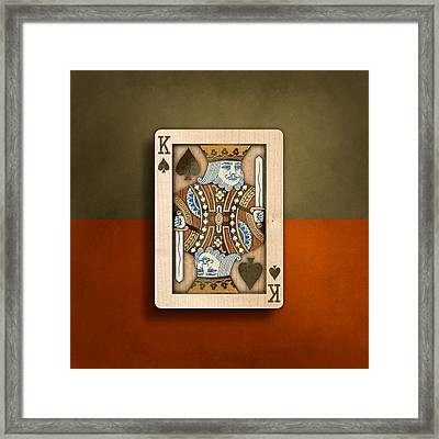 King Of Spades In Wood Framed Print