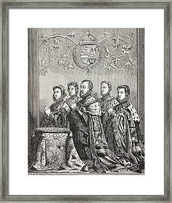 King Philip II Of Spain With His Three Framed Print