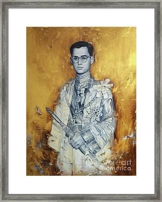 King Bhumibol Framed Print by Chonkhet Phanwichien