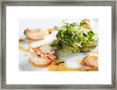 King Prawns Ginger Chilli And Coriander Starter Presented On A White Background Framed Print by Andy Smy