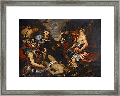 King Priam Retrieving The Body Of His Son Hector Framed Print by Giovanni Battista Langetti