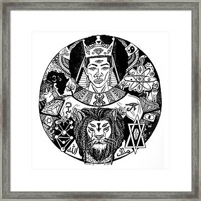 King Solomon And Lion Of Judah Drawing Framed Print by Kenal Louis