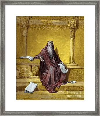King Solomon Engraving By Gustave Dore Framed Print