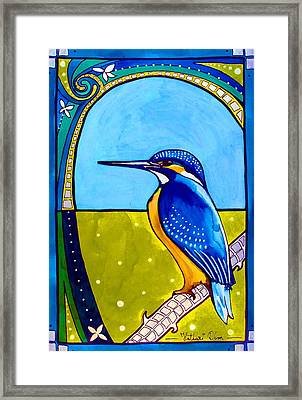 Framed Print featuring the painting Kingfisher by Dora Hathazi Mendes