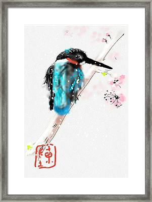 Kingfisher In Late Spring Snow Framed Print