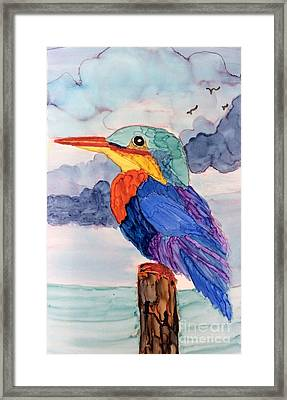 Kingfisher On Post Framed Print by Suzanne Canner