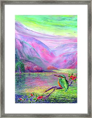 Kingfisher, Shimmering Streams Framed Print by Jane Small