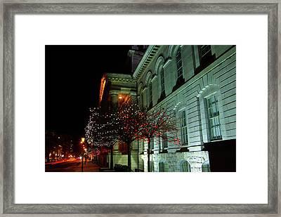 Kingston City Hall In Lights Framed Print