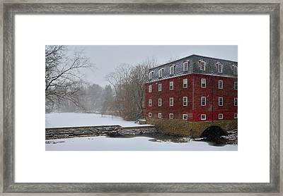 Framed Print featuring the photograph Kingston Mill In Winter Storm by Steven Richman