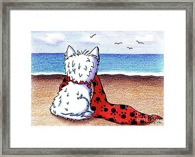Kiniart Beach Blanket Westie Framed Print by Kim Niles