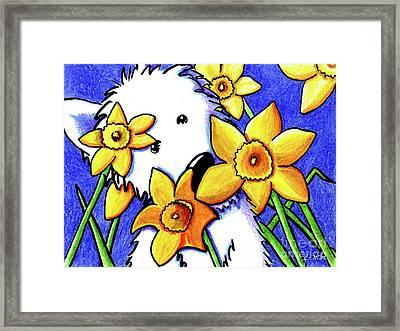 Kiniart Westie Daffodils Framed Print by Kim Niles