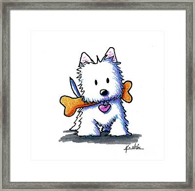 Kiniart Westie With Bone Framed Print