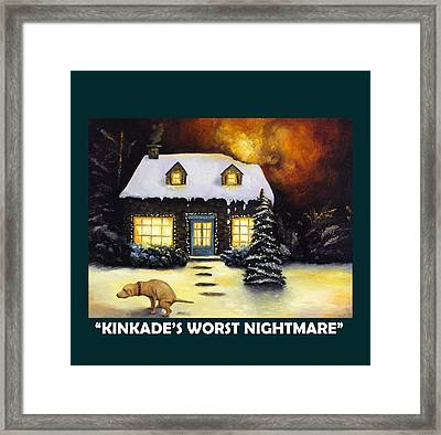 Kinkade's Worst Nightmare With Lettering Framed Print by Leah Saulnier The Painting Maniac