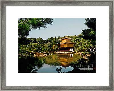 Kinkakuji-gold Pavilion Framed Print by Linda  Parker
