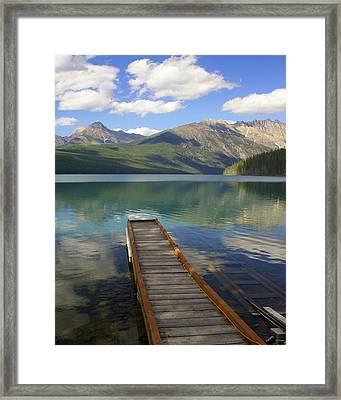 Kintla Lake Dock Framed Print by Marty Koch