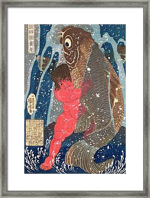 Kintoki Swims Up The Waterfall Framed Print by Kuniyoshi