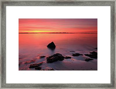 Framed Print featuring the photograph Kintyre Rocky Sunset 2 by Grant Glendinning