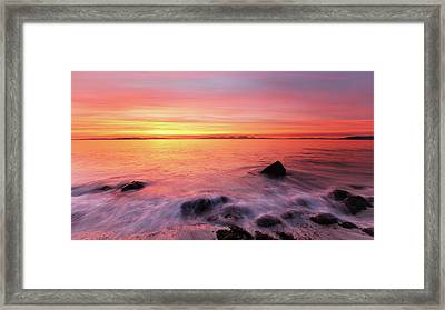 Framed Print featuring the photograph Kintyre Rocky Sunset 3 by Grant Glendinning