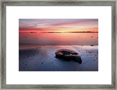 Framed Print featuring the photograph Kintyre Rocky Sunset 5 by Grant Glendinning