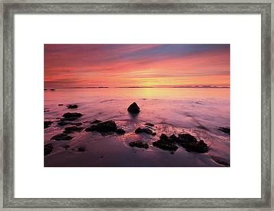 Framed Print featuring the photograph Kintyre Rocky Sunset by Grant Glendinning