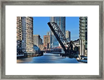 Kinzie Street Bridge Alternate View Framed Print by Frozen in Time Fine Art Photography