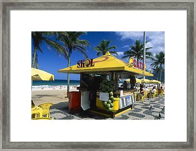 Kiosk On Ipanema Beach Framed Print